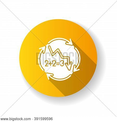 Negative Synergy Yellow Flat Design Long Shadow Glyph Icon. Decline In Financial Figures. Decrease I