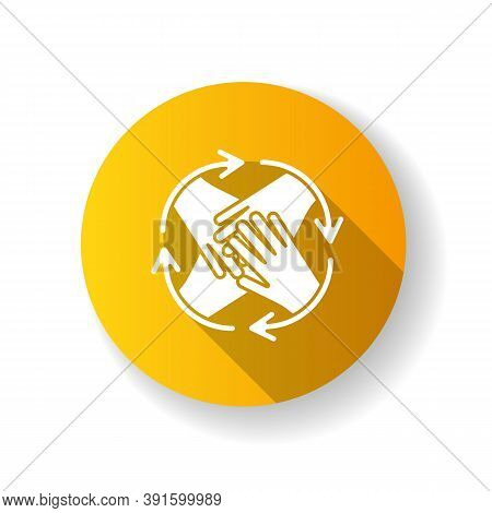 Community Involvement Yellow Flat Design Long Shadow Glyph Icon. Group Cooperation. Business Synergy