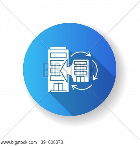 Corporate Synergy Blue Flat Design Long Shadow Glyph Icon. Company Merge. Extend Business. Office Ex