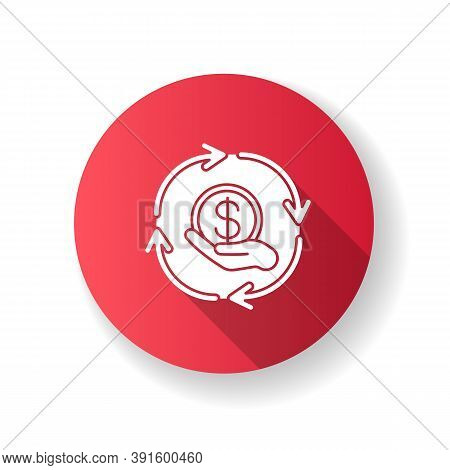Financial Synergy Red Flat Design Long Shadow Glyph Icon. Cost Of Service. Cash Transfer. Currency E