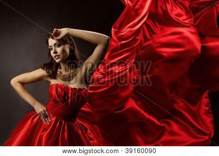 Woman Red Dress Dancing, flying fabric, Fashion Model Girl Posing