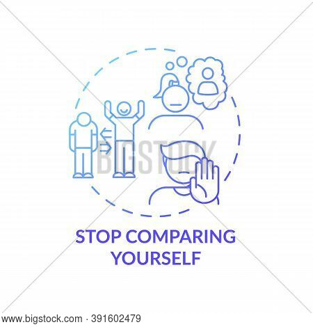 Stop Comparing Yourself Concept Icon. Body Healthy Positivity Tips. Loving Yourself And Your Body. S