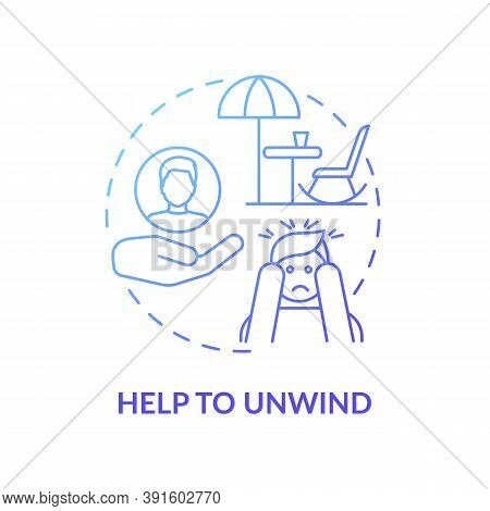Help To Unwind Concept Icon. Me Time Benefits. Refresh Yourself Tips For Everyday. Free Your Mind An