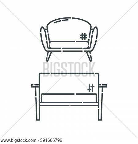 Comfortable Sofa With Pillow. Two Modern Stylish Object For Relaxation. Image Of Couch In Line Art S