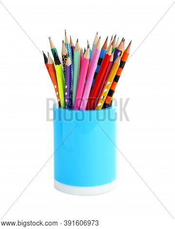 Holder With Different Pencils On White Background. School Stationery