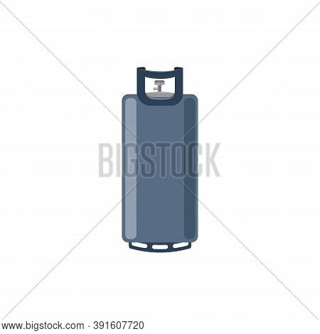 Compressed Gas Steel Cylinder, Flat Cartoon Vector Illustration Isolated