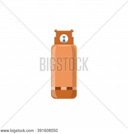 Flammable Steel Gas Cylinder With Fuel A Flat Cartoon Isolated Vector Illustration