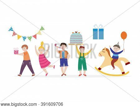 Set Of Children Celebrating Birthday Party Flat Vector Illustration Isolated.