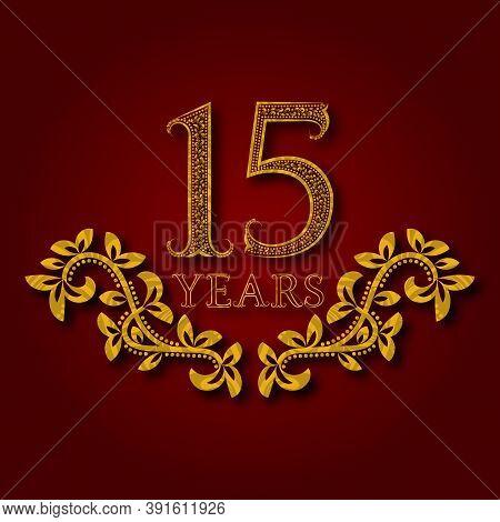 Fifteen Years Anniversary Celebration Patterned Logotype. Fifteenth Anniversary Vintage Golden Logo