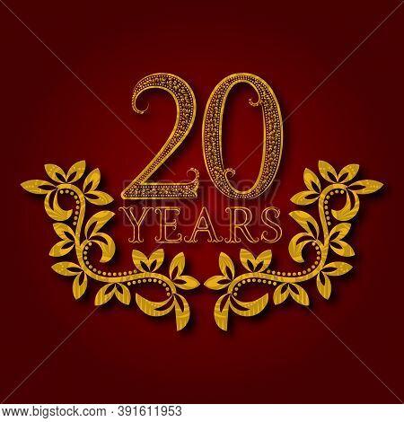 Twenty Years Anniversary Celebration Patterned Logotype. 20th Anniversary Vintage Golden Logo With S