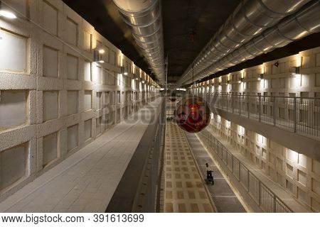 Jerusalem, Israel - October 20th, 2020: An Underground Burial Tunnel Is One Method Of Saturated, Mul
