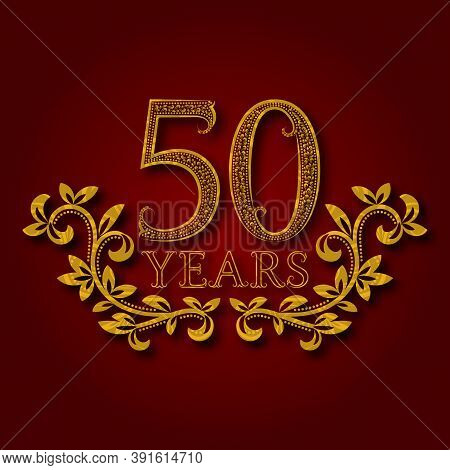 Fifty Years Anniversary Celebration Patterned Logotype. 50th Anniversary Vintage Golden Logo With Sh