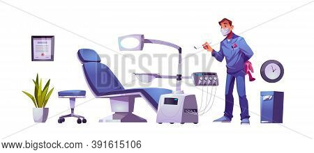 Kids Dentist Doctor In Dental Clinic Stomatology Cabinet, Orthodontist With Mirror And Toy At Workpl