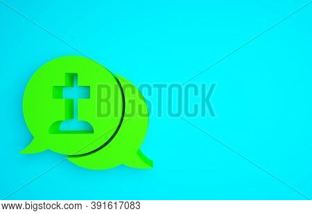 Green Man Graves Funeral Sorrow Icon Isolated On Blue Background. The Emotion Of Grief, Sadness, Sor