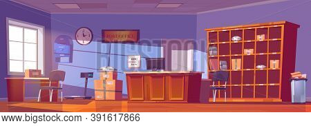 Post Office, Service For Delivery And Storage Mail, Parcels, Orders And Newspapers. Vector Cartoon I