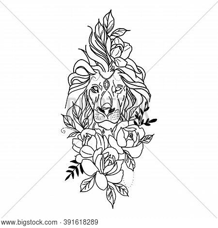 Cute Lion With Crown Flowers And Leaves Design, Animal Zoo Life Nature Character Childhood And Adora