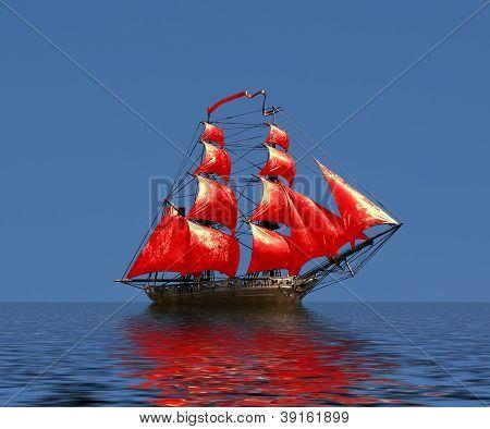 Sailing ship under full sail - Russian 18-gun brig Mercury of Black Sea Fleet poster