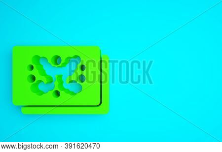 Green Rorschach Test Icon Isolated On Blue Background. Psycho Diagnostic Inkblot Test Rorschach. Min