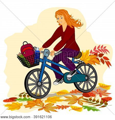 Illustration With A Girl On A Bike.girl On A Bike And Autumn Leaves In Color Illustration.