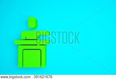 Green Speaker Icon Isolated On Blue Background. Orator Speaking From Tribune. Public Speech. Person