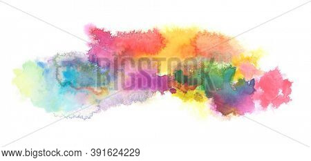 Abstract watercolor and acrylic blot painting. Color design element. Texture paper. Isolated on white horizontal background.