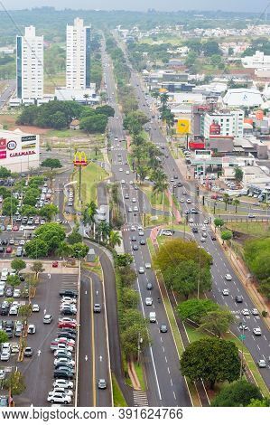 Campo Grande - Ms, Brazil - October 23, 2020: Aerial View At The Traffic Of The Afonso Pena Avenue I