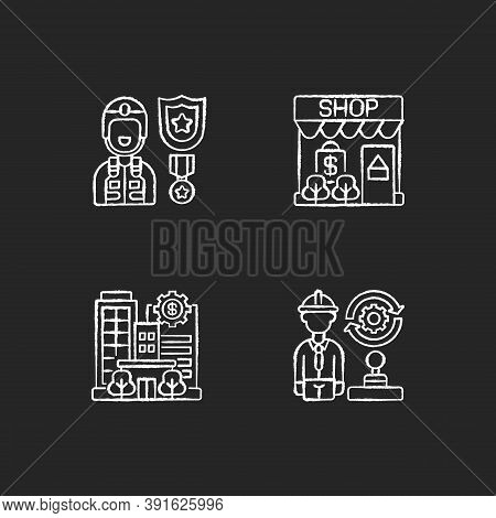 Vital Services Chalk White Icons Set On Black Background. Defence Industry. Small Business. Banks An