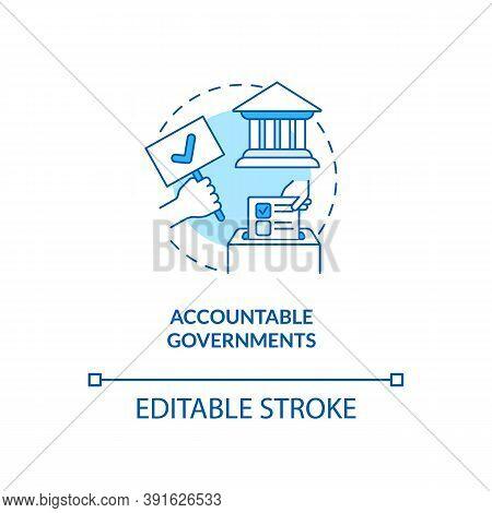 Accountable Governments Concept Icon. Social Change Benefit Idea Thin Line Illustration. Periodic El