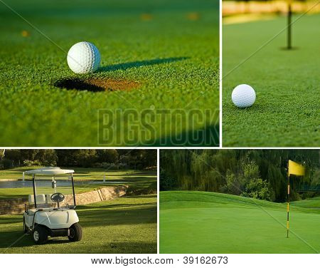 Golf, Golf Ball, Green And Golf Cart Collage Combination