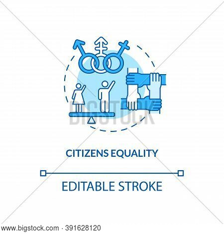 Citizens Equality Concept Icon. Social Change Benefit Idea Thin Line Illustration. Equal Rights. Fem
