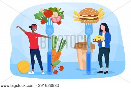The Concept Of Promoting Healthy Eating With Two Girls, One Of Whom Plays Sports And Eats Right, And