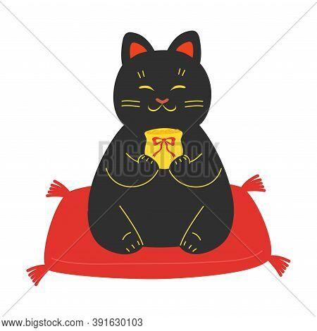 Black Japanese Traditional Maneki Neko Cat Statue With Money Bag
