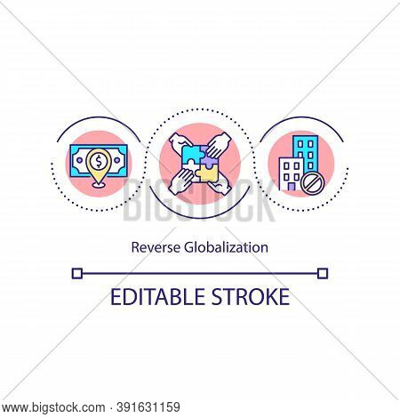 Reverse Globalization Concept Icon. Integration Of Economies. Financial Markets. Crisis. Negative Gr