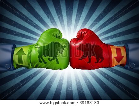Stock market trading business concept with two boxing gloves with arrows going up and down with bull and bear icon emblems stitched to the glove as investment decisions and financial success with radial background. poster