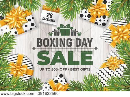 Advertisement For Christmas Sale Campaign. Bright Promo Design For Store. Boxing Day Celebration On