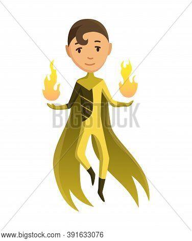 Cartoon Superhero Kid Character. Joyful Kid Wearing Super Hero Costume With Comic Cloak For Brave Re