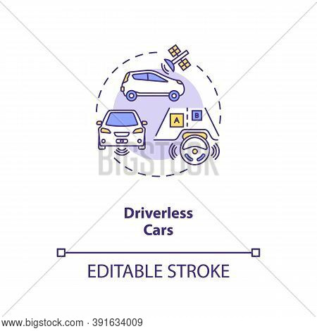 Driverless Cars Concept Icon. Futuristic Road Safety. Computer Controlled Devices. Ai Application Id