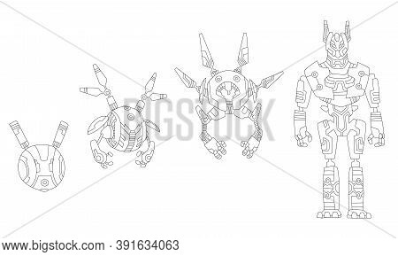 Robot Sketchs. Line Drawing Evolution Of Robots Concept. Vector Isometric Robots From Simple Single-