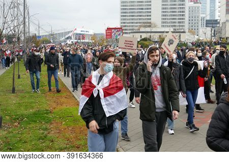 Minsk, Belarus - October 25, 2020. Mass Protests Against Dictator Lukashenko. Thousands Of Belarusia