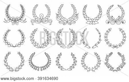 Laurel Wreath. Collection Of Different Black Circular Laurel, Olive, Wheat Wreaths Depicting An Awar