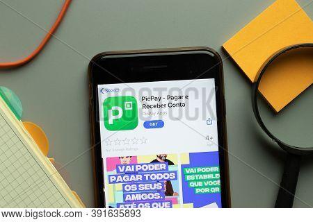 New York, Usa - 26 October 2020: Picpay Mobile App Logo On Phone Screen Close Up, Illustrative Edito
