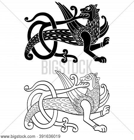 Vector Monochrome Icon  With Ancient Slavic Symbol Simargl Or Chernihiv Beast For Your Project