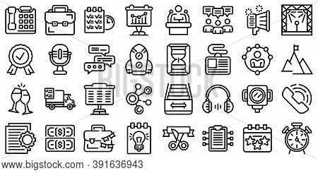 Event Management Icons Set. Outline Set Of Event Management Vector Icons For Web Design Isolated On