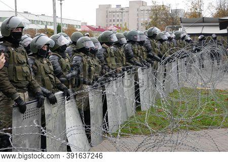 Minsk, Belarus - October 25, 2020. Barbed Wire, Troops. Peaceful Protesting Against Dictator Lukashe