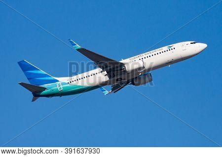 Hong Kong / China - December 1, 2013: Garuda Indonesia Boeing 737-800 Pk-gfq Passenger Plane Departu