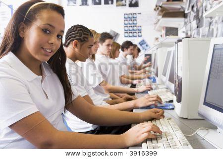 Teen Pupils Using School Computers