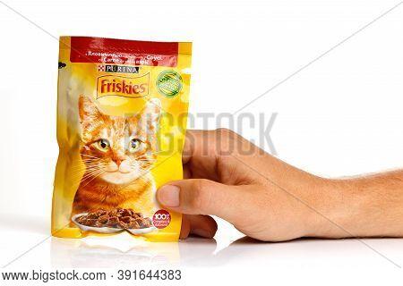 Lviv, Ukraine - September 22, 2020: Friskies Cat Food In The Package In Hand
