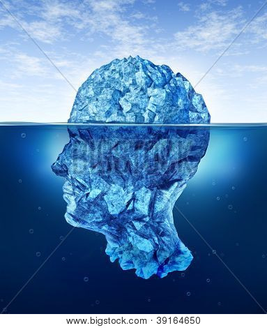 Human brain risks with an iceberg in the shape of a head partialy submerged in the cold arctic ocean as a health care medical symbol for hidden neurological and psychological symptoms. poster