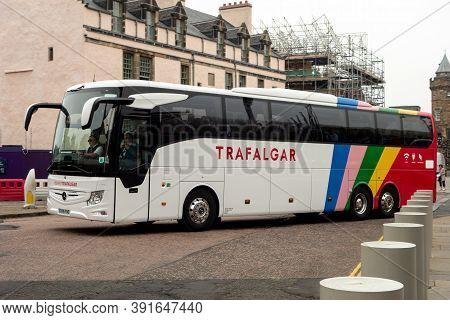 Edinburgh, Scotland - July 29, 2019: Mercedes-benz Tourismo Luxury Coach Of Trafalgar Transportation