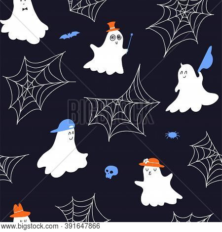 Cute Ghost Seamless Pattern In Hats. Cartoon Halloween Pattern With Gentle Ghosts, Cobwebs, Skull, S